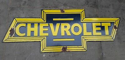 """Porcelain CHEVROLET Sign SIZE 22"""" X 8"""" INCHES"""