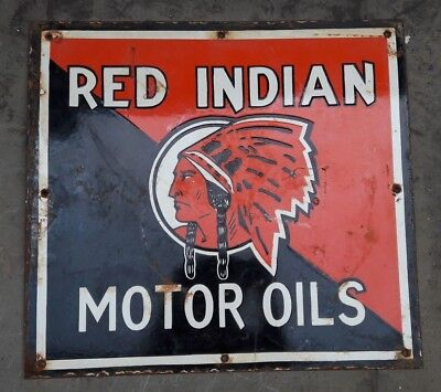 """Porcelain Sign Red India Motor Oils 20 """" X 18.5 """" Inches"""