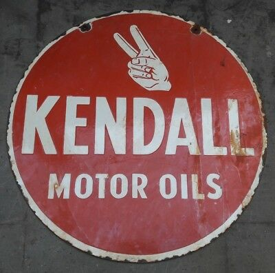 """Porcelain KENDALL MOTOR OILS Sign SIZE 24"""" ROUND DOUBLE SIDED"""