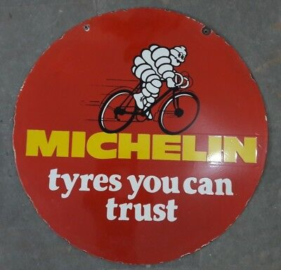 """Porcelain MICHELIN TYRES Sign SIZE 30"""" ROUND DOUBLE SIDED"""