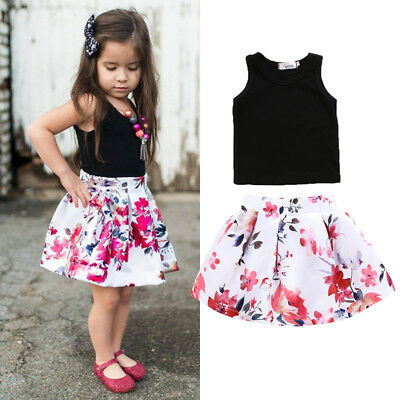 AU Stock Cutey Baby Girl Summer Outfits Vest+Short Party Prom Dress 2Pcs Clothes