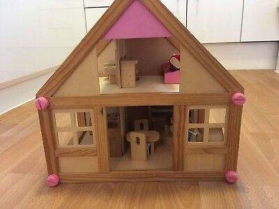 ELC Wooden Doll's House with furniture and 2 dolls