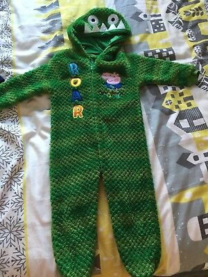 Mothercare Boys Peppa George Dinosaur Onsie PJs All In One Age 2-3 Christmas