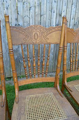 Vintage Set 4 Press Back Carved Spindle Cane Seat Country Farm Style Oak Chairs