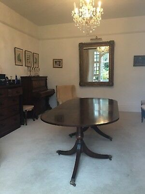 Large Vintage Mahogany Regency Style Twin Pedestal Extending Dining  Table