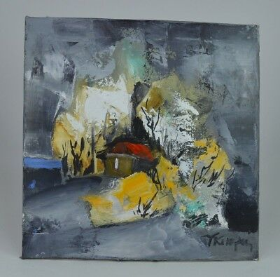 Original Abstract Art/ Oil On Stretched Canvas/ Painting / Signed/ 20.5 X 21 Cm