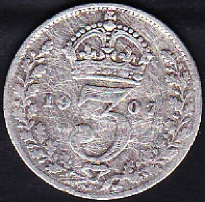 1907 Great Britain 3 Pence Silver Coin Vf