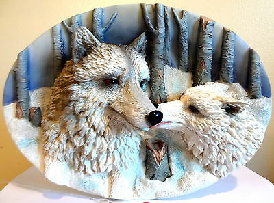 """Wolf Plate Precious Times Suanti Galleries 3D 6&3/4"""" X 9&3/4"""" New in Box"""