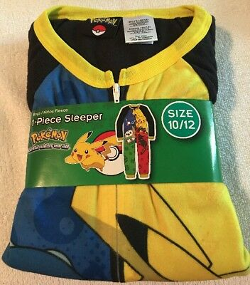 POKEMON Fleece Pajamas Boy's size 10/12 NeW Zip-Up Zipper Warm Winter Pjs NWT