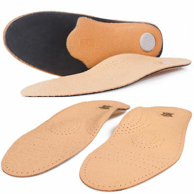 Pair Real Leather Orthotic Insoles Metatarsal Arch Support Flat Feet Inserts 91