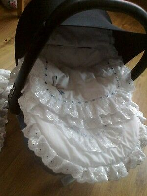 White blue silver Romany Spanish Broderie Anglaise car seat footmuff cosy toes