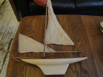 Vintage Wooden Toy Pond Yacht/Sailing Boat