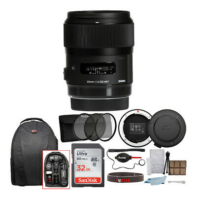 Sigma 35mm f/1.4 DG HSM Lens for Canon DSLR Cameras + 32GB Deluxe Accessory Kit