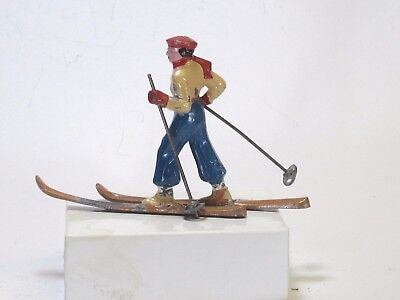 Barclay scale vintage lead toy winter figure French girl Crosscountry skier  BF