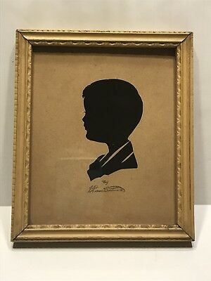 "VTG Hand Cut  Silhouette Portrait Child Artist Signed Framed 6"" x 4"" Estate Sale"