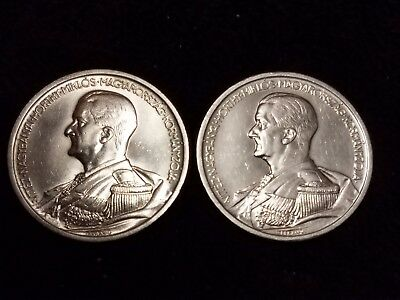 1939 Hungary 5 Pengo Silver Circulated coins - Lot of 2 (LN574)