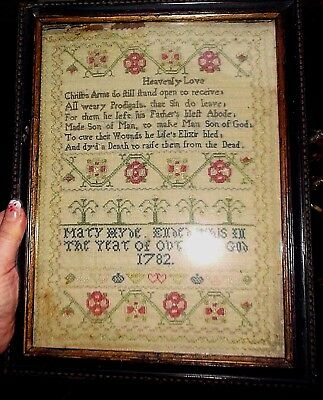 """18TH CENTURY  VERSE & MOTIF SAMPLER BY MARY HYDE 1782 for restoration 11 x 8.5"""""""