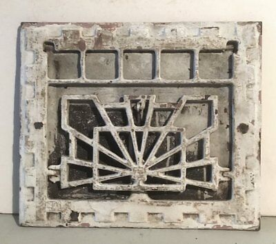 Vintage Ornate Cast Iron Heat Grate Register With Louver