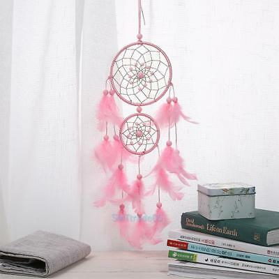 Traditional Pink Dream Catcher with Pink Feathers Wall or Car Hanging Ornament