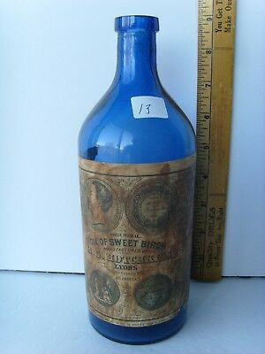 "Antique Labeled ""Hotchkiss-Lyons N.Y."" Oil Bottle 9"" hand blown ~1870-1890 39/13"