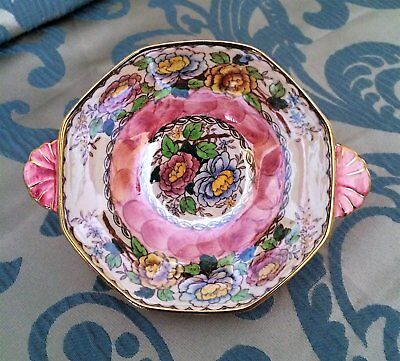 Vintage 1940's Maling New Castle-on-Tyne England Peony Rose Hand Painted Bowl