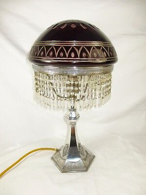 Antique Edwardian Wmf Silver Plated Flash Cut Bohemian Ruby Glass Table Lamp