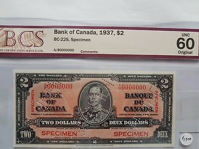 "🍁1937 $2 SPECIMEN Bank Canada Note CERTIFIED ""CHOICE UNC 60 Original"" BC-22S"