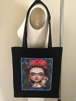 New Cotton Canvas Black Tote Shopping Bag  Frida Kahlo Reusable Eco Friendly