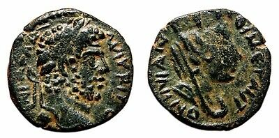 *AET* CARACALLA AE18. EF-. Carrhae (Mesopotamia) mint. Tyche in reverse.