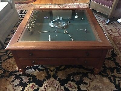 Ethan Allen County Crossings Glass Top Coffee Table