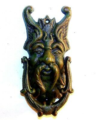 7 inch Cast Iron Door Knocker Green Man Gargoyle Demon Gothic Medieval Door art