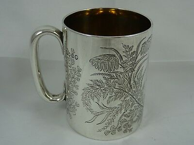 PRETTY solid silver CHRISTENING MUG, 1874, 153gm