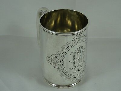PRETTY solid silver CHRISTENING MUG, 1875, 155gm - George Unite
