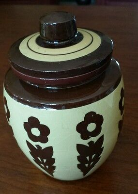 Antique Floral Glazed Brown Clay Pottery Jar with Lid Storage