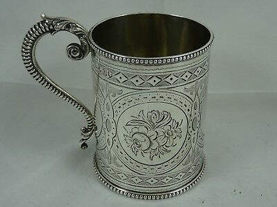 PRETTY solid silver CHRISTENING MUG, 1864, 153gm - Robert Hennell