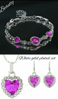 Fashion- Magenta heart bracelet, necklace and earring set white gold plated