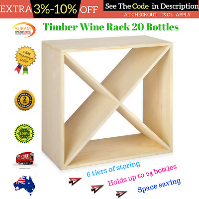 24 Bottle solid timber cube Great Wine Rack Christmas gift wine storage rack AU