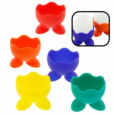 Silicone Egg Cup Holders- Set of 5 Rainbow Serving Cups