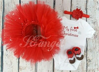 Baby girl infant My 1st Christmas Santa Romper Tutu Dress Outfit 6-9m Set