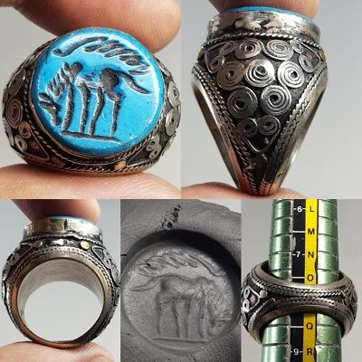 Old Genuine Turquoise Old Stunning Silver Wonderful Ring     # x2