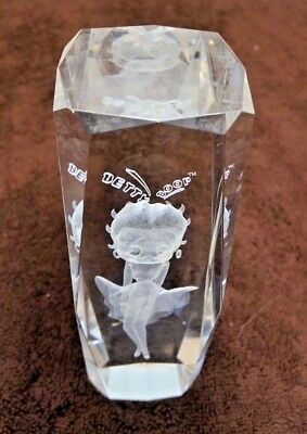 "Betty Boop in Evening Gown 3D Laser Etched Crystal 6"" Tall Paperweight"