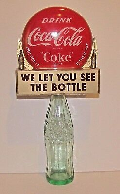 1950's Coca Cola/Coke Bottle Topper Sign with 12 oz. Embossed Bottle included
