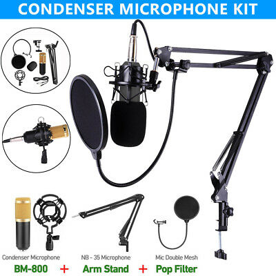 BM-800 Studio Broadcasting Condenser Microphone+Shock Mount+Arm Stand+Pop Filter