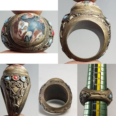 Very Old Mosaic Glass With Face Bronze Lovely Ring   # x2