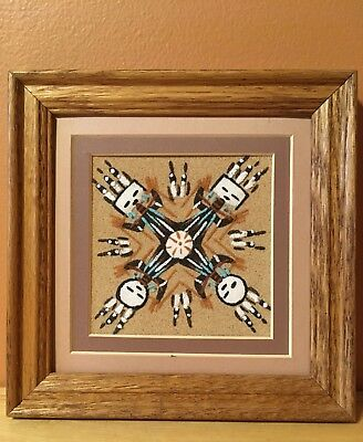 Navajo Sand Painting ~ Matted & Framed ~ signed by Artist