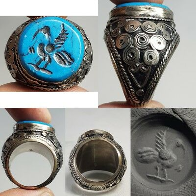 Silver Antique lovely Bird Genuine Turquoise stone Unique Ring   # x2