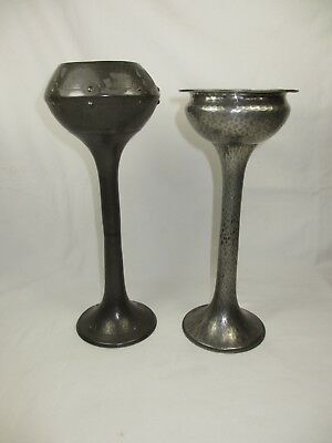 Two Arts & Crafts Hammered Pewter Chalice Shaped Vases