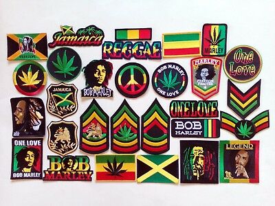 29 RASTA African Jamaica Bob Embroidered Patches iron-on
