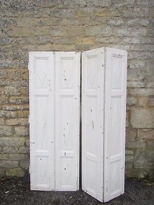 Vintage Wooden Shutters French Folding Bi Fold Reclaim Cladding  156 Cm Tall