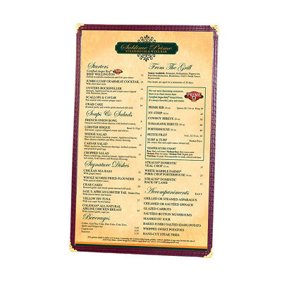 """Menu Cover, Single Pocket, Two Viewing Sides, 8-1/2"""" x 14"""" Color Burgundy"""